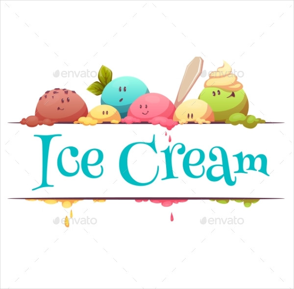 Ice Cream Banner With Color Drops