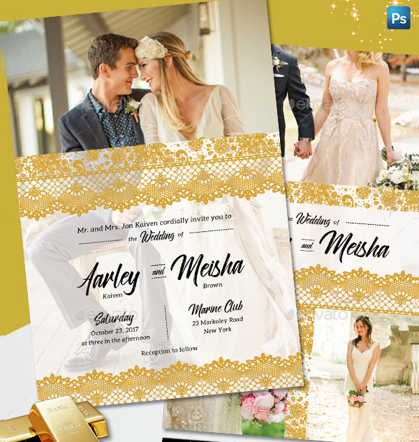 Lace Gold Wedding Invitation Design