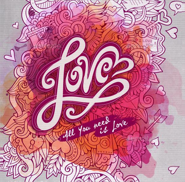 Love Cards Watercolor Design