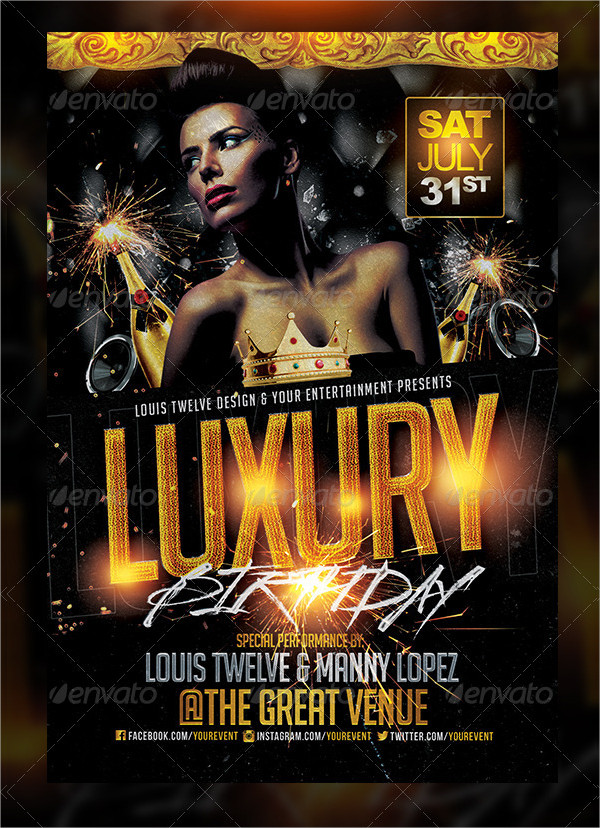 Luxury Birthday Golden Night Flyer Design