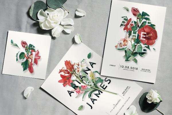 Modern Vintage Floral Wedding Invitation