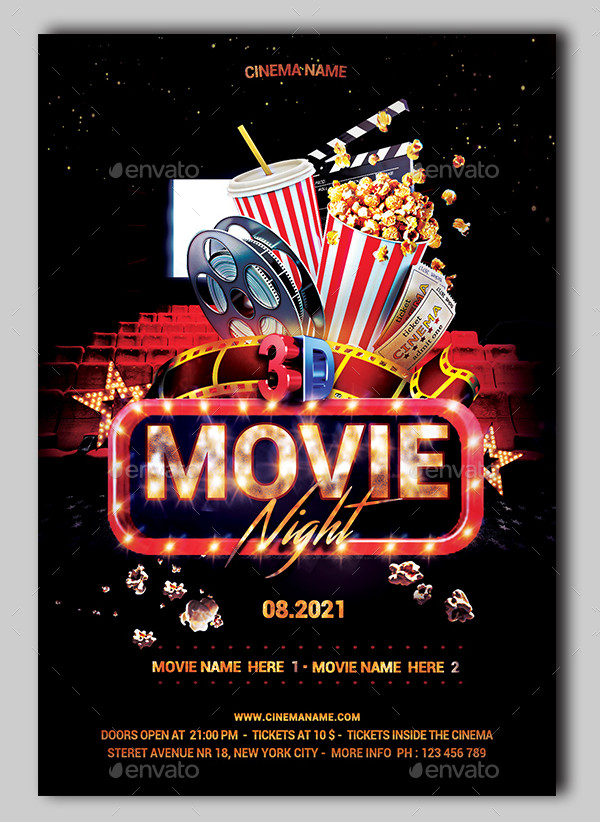 Editable Movie Night Event Flyer PSD