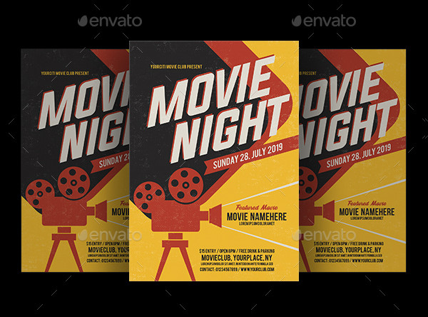 Movie Night Time Flyer Design