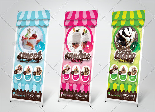 Ice Cream Store Outdoor Banner Template