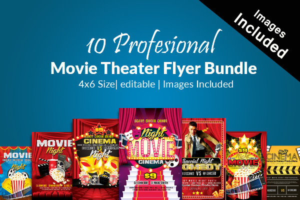 Professional Movie Night Party Flyers Bundle
