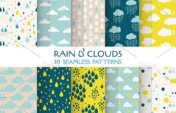 Rain & Clouds Seamless Patterns