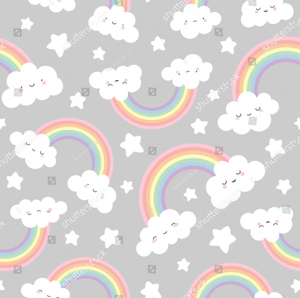 Rainbow Cloud Seamless Pattern