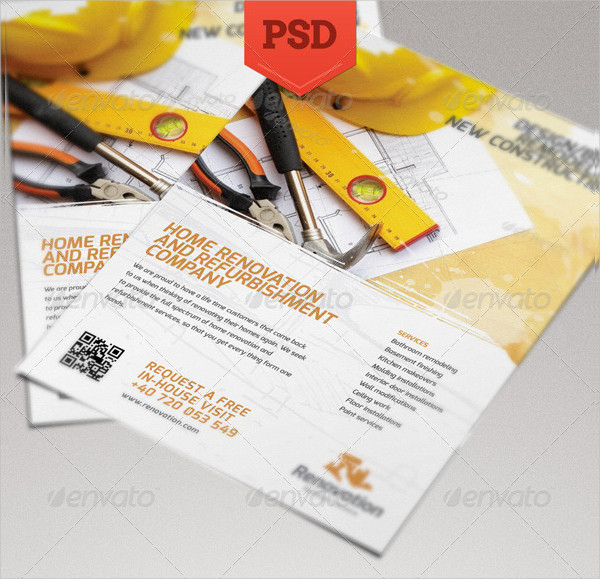 Creative Renovation Flyer PSD Template