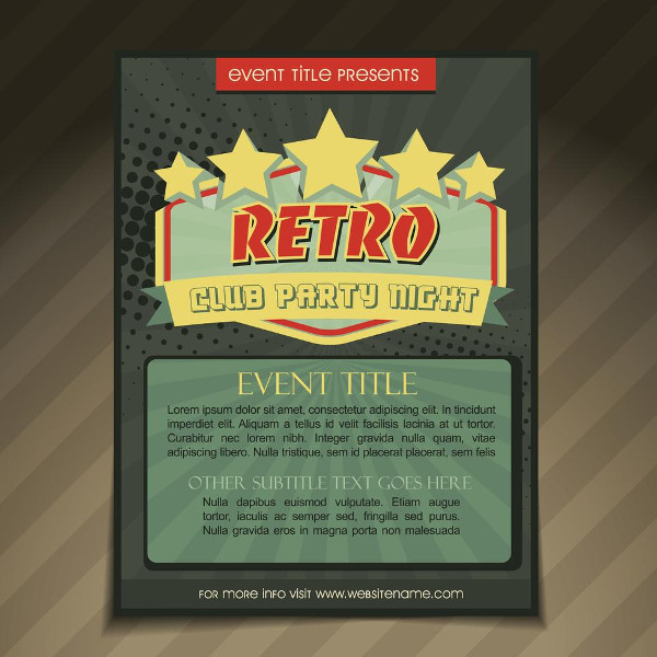 Retro Club Party Brochure Design Free Download