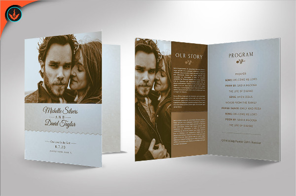 Retro Wedding Program Template