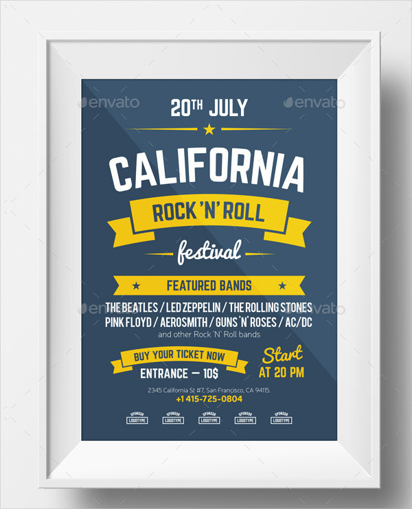 Rock n Roll Music Festival Poster Template