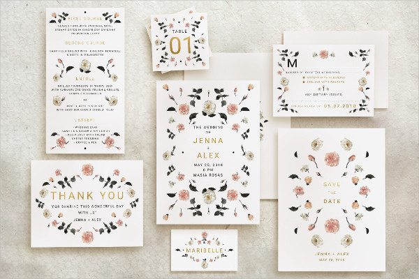 Rose Gold Wedding Invitations Suite