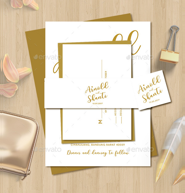 Simple Gold Wedding Invitation Design