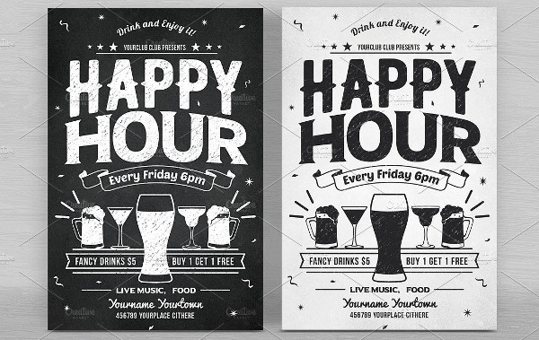 Simple Happy Hour Flyers