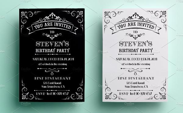 Simple Vintage Biirthday Invitation