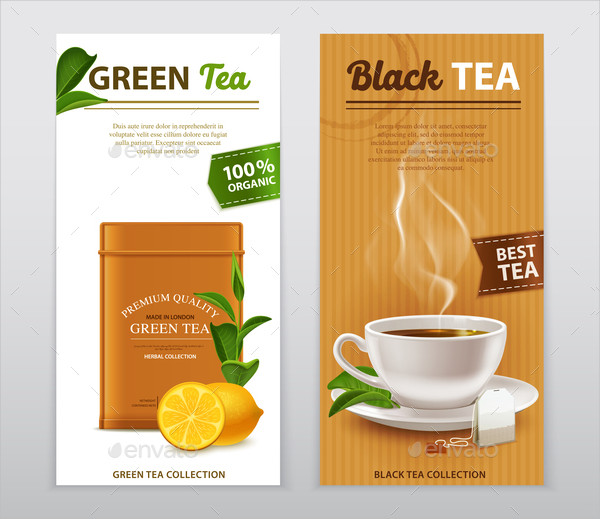 Tea Realistic Advertisement Banners Set
