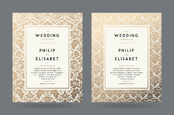 Traditional Gold Wedding Invitation