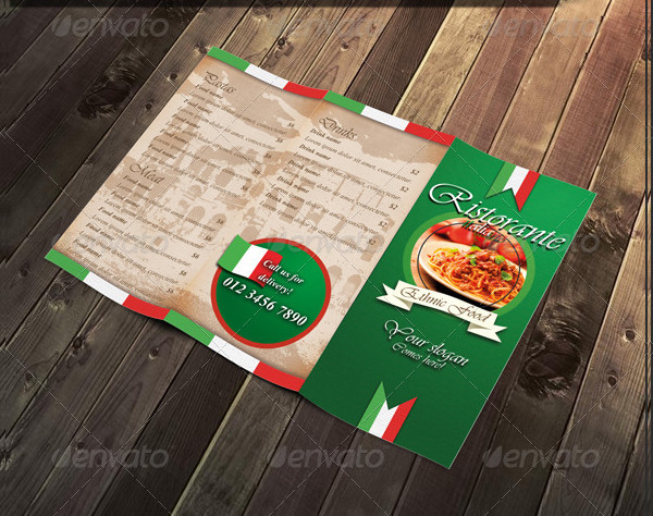 Tri-Fold and Bifold Italian Menu Templates