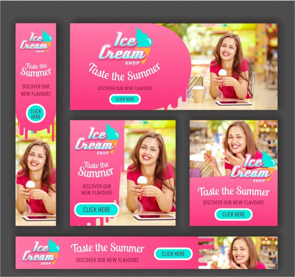 Variety Of Ice Cream Banners Free Download