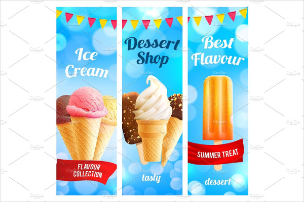 Vector Banners Set For Ice Cream Dessert Shop