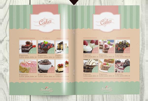 Vintage Cake Menu Brochure Bi-Fold Template
