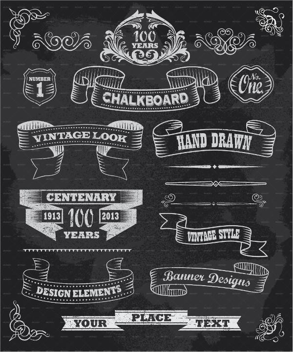 Vintage Chalkboard Calligraphy Banners