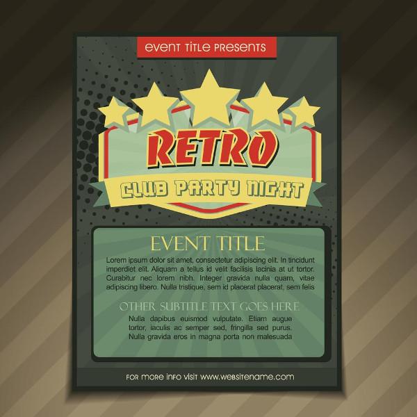 Vintage Club Party Brochure Design Free