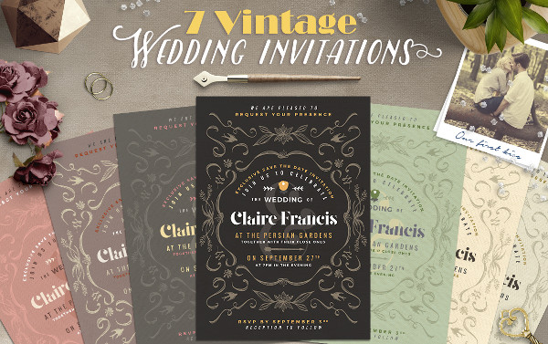 Vintage Deco Wedding Invitations Design
