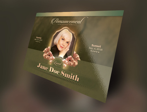 Vintage Green Funeral Announcement Card Template