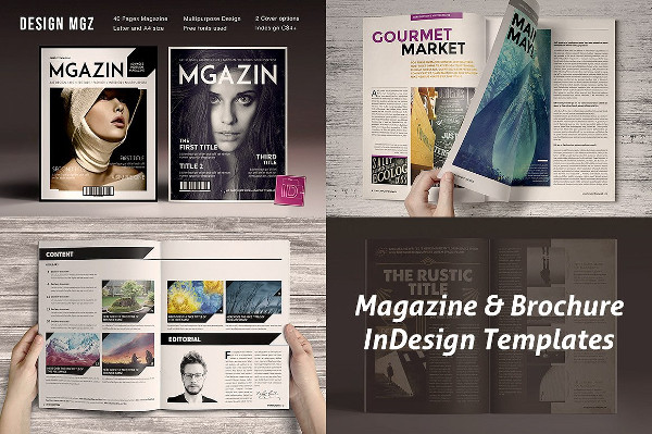 Vintage InDesign Magazine & Brochure Templates