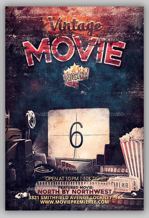Vintage Movie Night Flyer Design