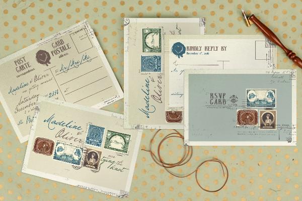 Vintage Stamp Wedding Invitation