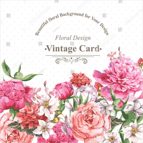 Vintage Watercolor Greeting Cardwith Blooming Flowers