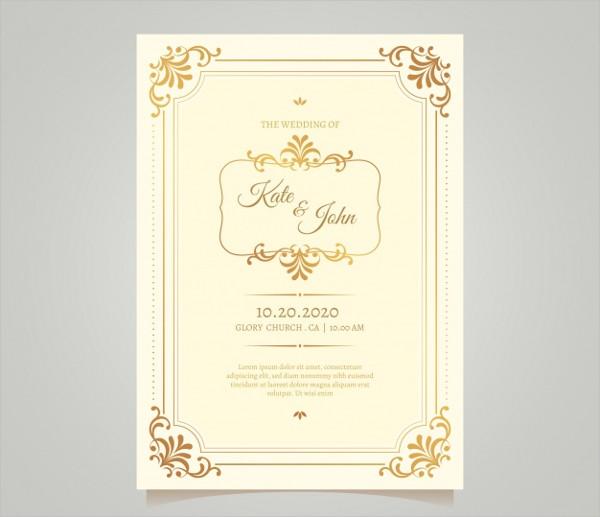 Vintage Wedding Card Template Free Download