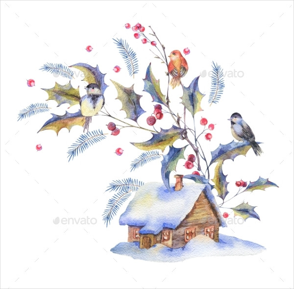 Watercolor Christmas Greeting Card with Holly