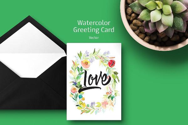 Watercolor Greeting Card Design Vector