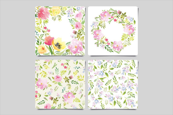 Watercolor Greeting Cards and Flower Pattern