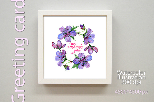 Watercolor Thank You Greeting Card Illustration