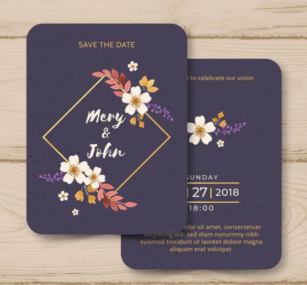 Watercolor Wedding Invitation Template Free Download