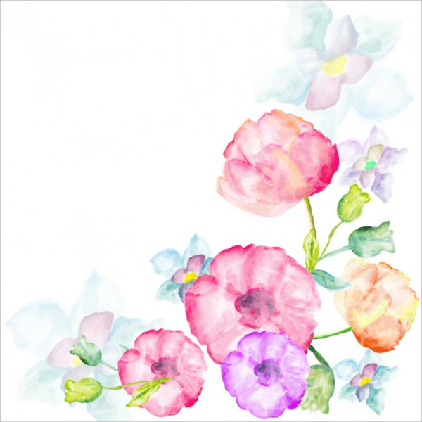 Watercolor Flowers Greetings Card Free Download