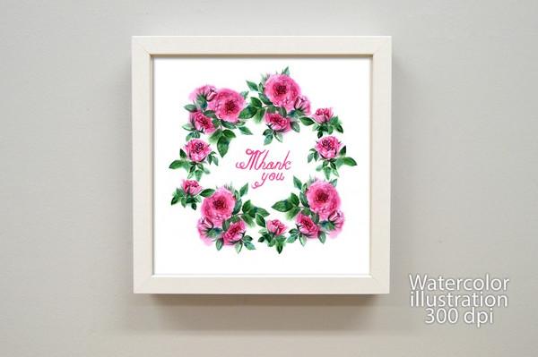 Watercolor Roses Greeting Card Template