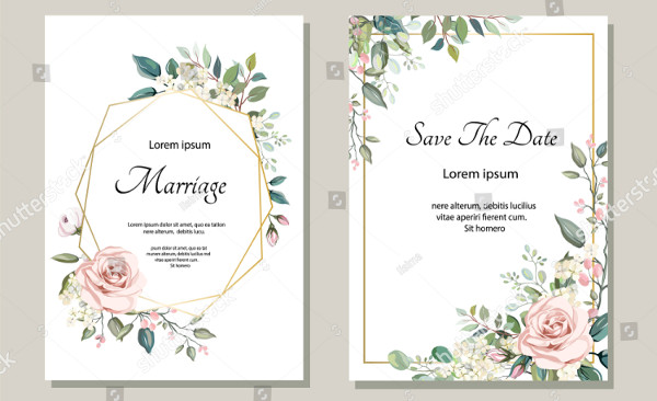 Decorative Wedding Greeting Card Template