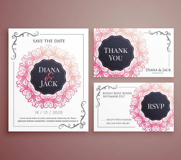 Wedding Invitation Card Template Design Set Free