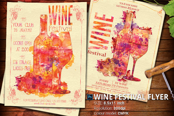 Wine Festival Poster in Vintage Style