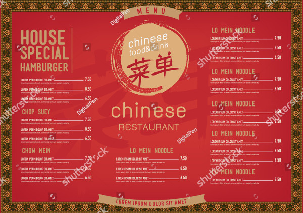 Vector Chinese Food Restaurant Menu Template