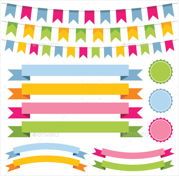 Bunting Banner Design Ribbons and Labels Set