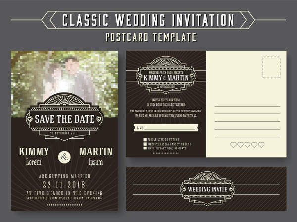Classic Wedding Invitation Postcard Card Design Free Download