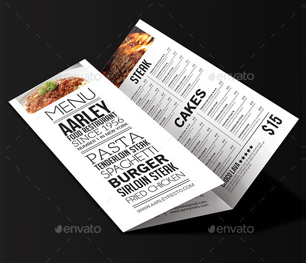 Cool Typography Tri-Fold Menu Template