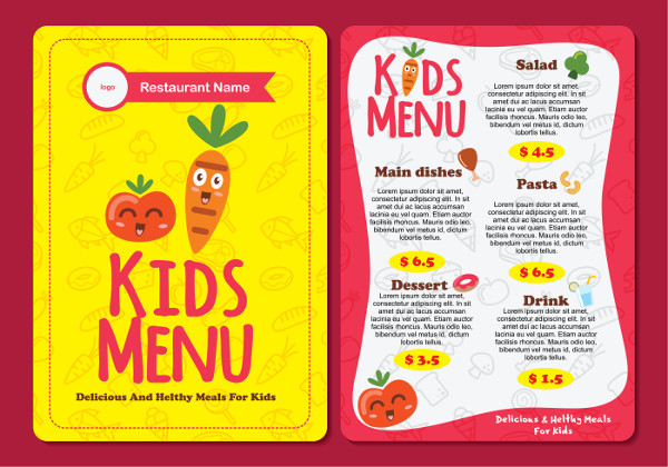 Cute Colorful Kids Menu Template Free