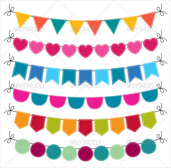 Cute Vector Bunting Banners Set